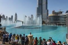 Modern buildings at Dubai creek. United Arab Emriates. And big fountain water show Royalty Free Stock Photo