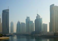 Modern buildings in Dubai Marina in the fog Stock Photo