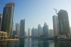 Modern buildings in Dubai Marina in the fog Stock Photography