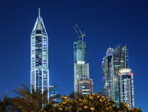 Modern buildings in Dubai Marina at night. UAE Royalty Free Stock Image