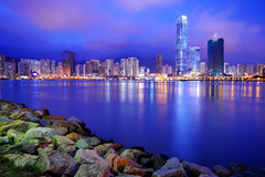 Modern buildings at dusk , Hong Kong Royalty Free Stock Photo