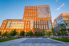 Modern buildings and Eager Park, in Baltimore, Maryland.  stock photos