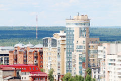 Modern buildings on edge of large city Royalty Free Stock Photo