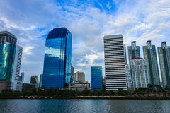 Modern buildings. At evening and blue sky background Stock Images