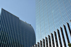 Modern buildings external in line and block. Modern buildings in Xiamen city, South China, with glass external and pattern, shown as modern city or urban Stock Image