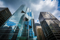 Modern buildings in the Financial District of Toronto, Ontario. Royalty Free Stock Photos