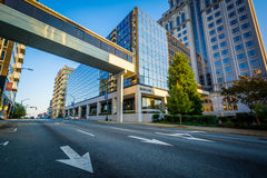 Modern buildings and Friendly Avenue, in downtown Greensboro, No. Rth Carolina Stock Photography