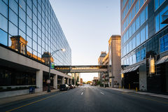 Modern buildings and Friendly Avenue, in downtown Greensboro, No. Rth Carolina Stock Images