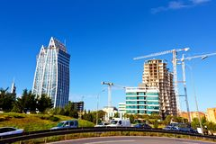 Modern Buildings. Modern futuristic buildings construction and blue sky Royalty Free Stock Photography