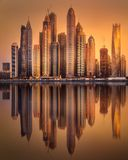 Dubai Marina bay view from Palm Jumeirah, UAE Stock Photo