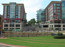 Modern buildings in Greenville stock photography