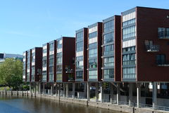 Modern buildings in Hamburg. City at a canal stock photography