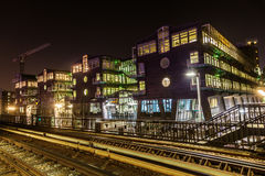 Modern buildings in Hamburg, Germany, at night Stock Image