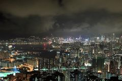 Modern Buildings in Hong Kong. In night time Stock Photo