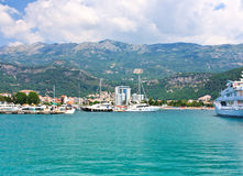 Modern buildings and hotels on the coast of Budva Royalty Free Stock Photos