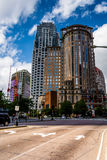 Modern buildings and an intersection in Boston, Massachusetts. Stock Photography