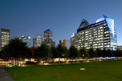 Modern buildings and Klyde Warren Park night scenes Stock Image