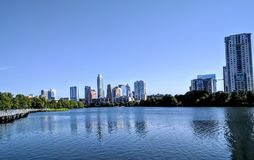 Downtown Austin Texas. Modern buildings in lade bird lake in Austin Texas Stock Photography