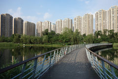 Modern buildings with lake in Chengdu Royalty Free Stock Image
