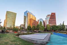 Modern buildings of Las Condes neighborhood - Santiago, Chile royalty free stock photography