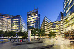 Modern buildings in London at night, editorial Royalty Free Stock Images
