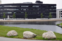 Modern buildings in Malmö. Exterior of modern buildings in Malmö city viewed over canal, Sweden stock photo