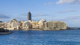 Modern buildings on Malta coastline Royalty Free Stock Images