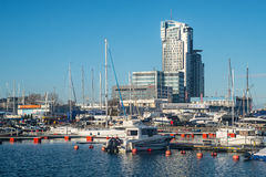 Modern buildings and marina in Gdynia harbor Stock Photo