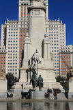 Modern buildings and the Miguel de Cervantes monument in Madrid, spain, architecture Royalty Free Stock Photo