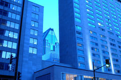 Modern buildings in Montreal. Exterior of modern buildings in city of Montreal, Quebec, Canada. Seen here with blue tint Royalty Free Stock Image