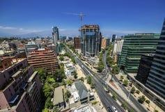 Modern buildings near construction site in Santiago de Chile Stock Images