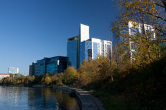 Modern buildings and Neris river Stock Photo