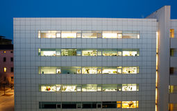 Modern buildings by night Royalty Free Stock Photography