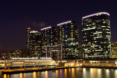 Modern Buildings at Night. Modern buildings in Tsim Sha Tsui Harbor City at Night Stock Images