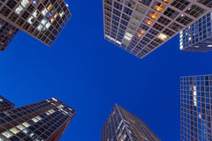 Modern buildings at night Stock Image