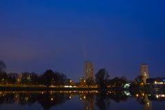 Modern buildings at night , cityscene Stock Photos