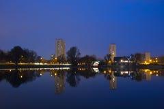 Modern buildings at night , cityscene Stock Photography