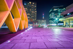 Modern buildings at night, at Donau City in Vienna, Austria. Royalty Free Stock Photography