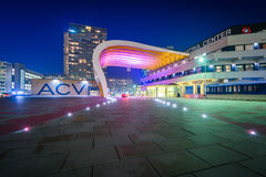 Modern buildings at night, at Donau City in Vienna, Austria. Royalty Free Stock Photo