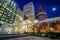 Modern buildings at night, in Uptown Charlotte, North Carolina. Royalty Free Stock Image