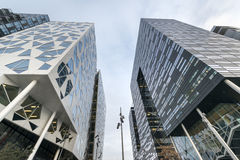 Modern buildings in Oslo downtown. Modern buildings called 'barcode' in Oslo downtown during winter time Stock Photo