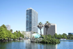 Modern buildings at Park Eola Royalty Free Stock Image