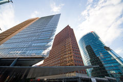 Modern buildings at potsdamer platz in Berlin. Photo taken by ultrawide lens Stock Image