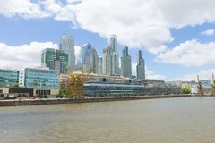 Modern buildings from Puerto Madero, Buenos Aires, Argentina. Landmark.  Buenos Aires cityscape, rio, del, plata, architecture, argentinian, boat, bridge stock photography