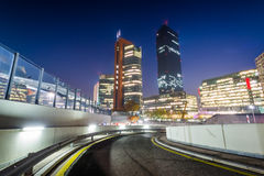 Modern buildings and ramp at night, in Donau City, in Vienna, Au Royalty Free Stock Photography