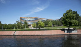 Modern buildings. On the river bank in Berlin Stock Images