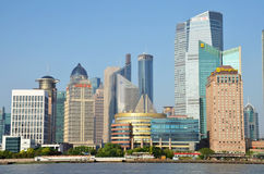 Modern buildings in the river stock image