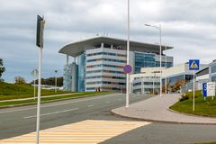 Modern buildings on Russky Island on the territory of the famous FEFU University where the APEC countries summit was held in the stock photos