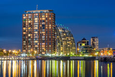 Modern buildings at Salford quays in Manchester Stock Photos
