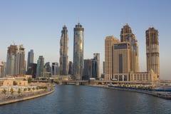 Modern buildings scenery in Dubai. Modern buildings in Dubai marina in united arab emirates. Water canal in Dubai Royalty Free Stock Photography